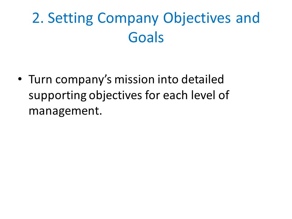 2. Setting Company Objectives and Goals