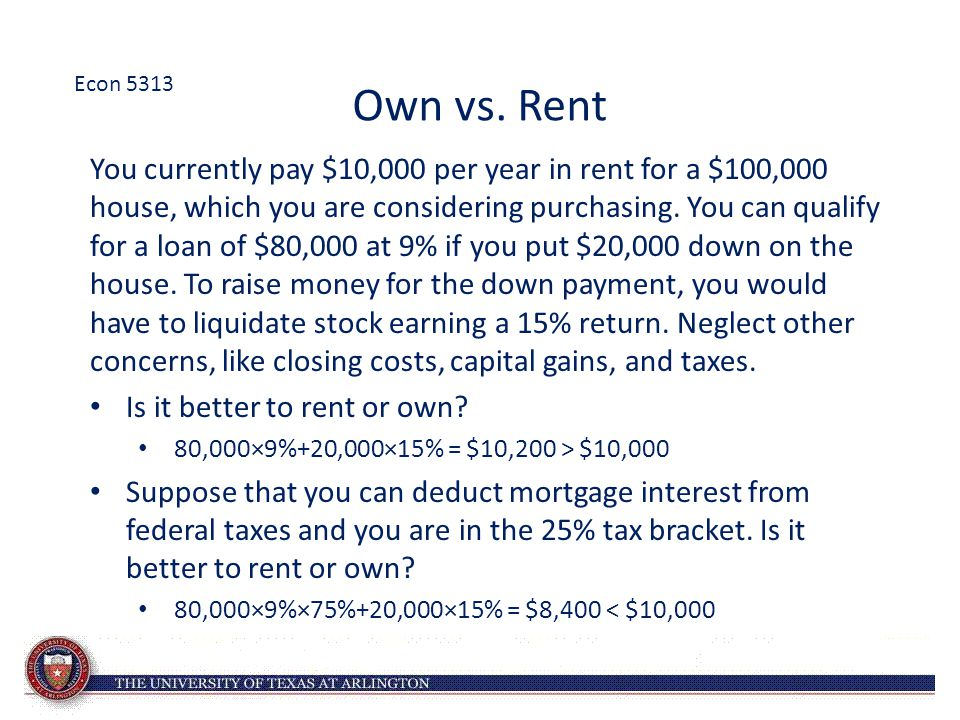 Econ 5313 Own vs. Rent.