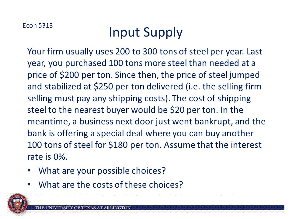 Econ 5313 Input Supply.