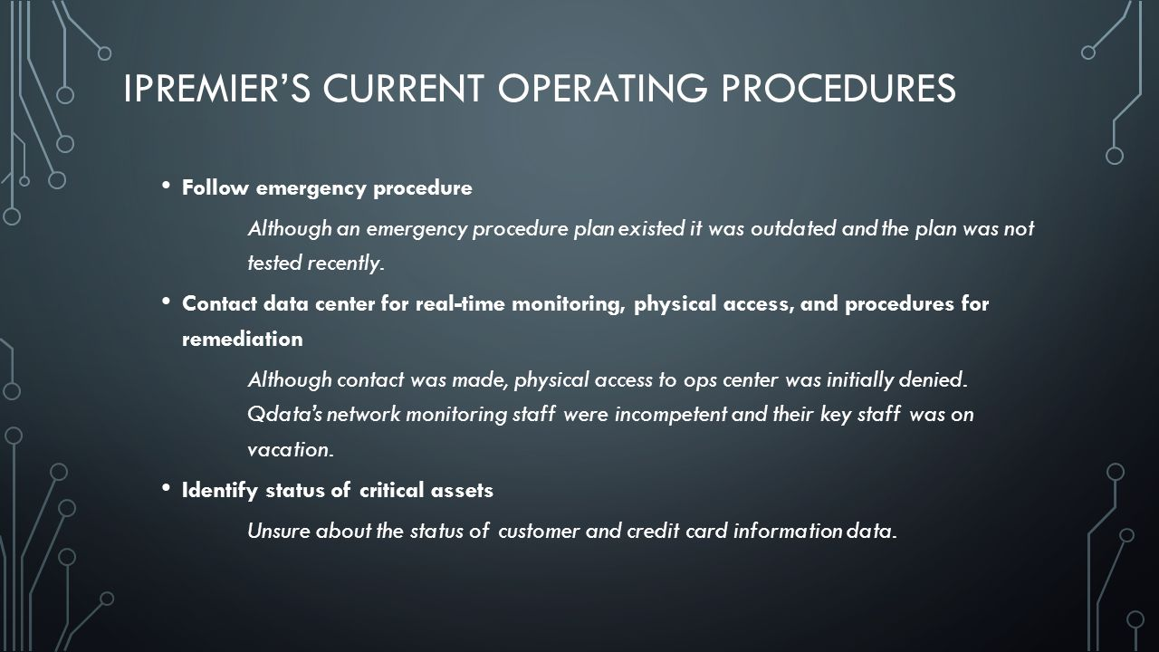 iPremier's Current Operating Procedures