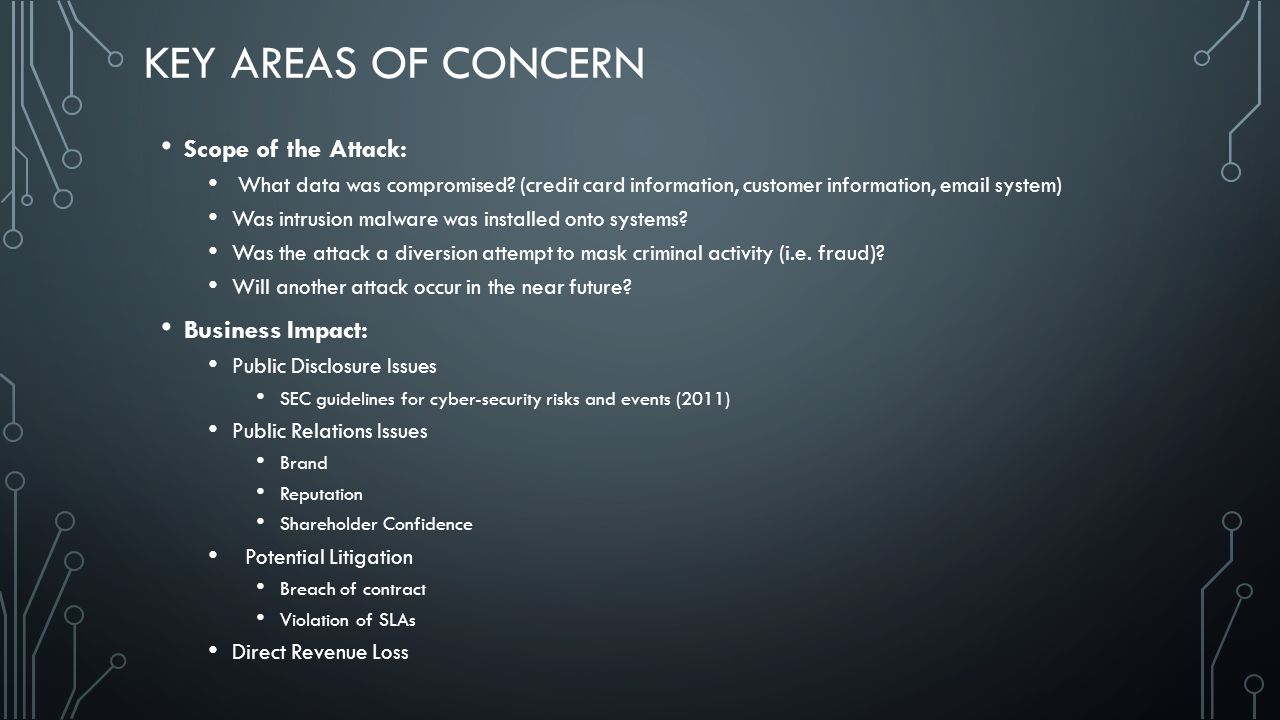 key Areas of Concern Scope of the Attack: Business Impact: