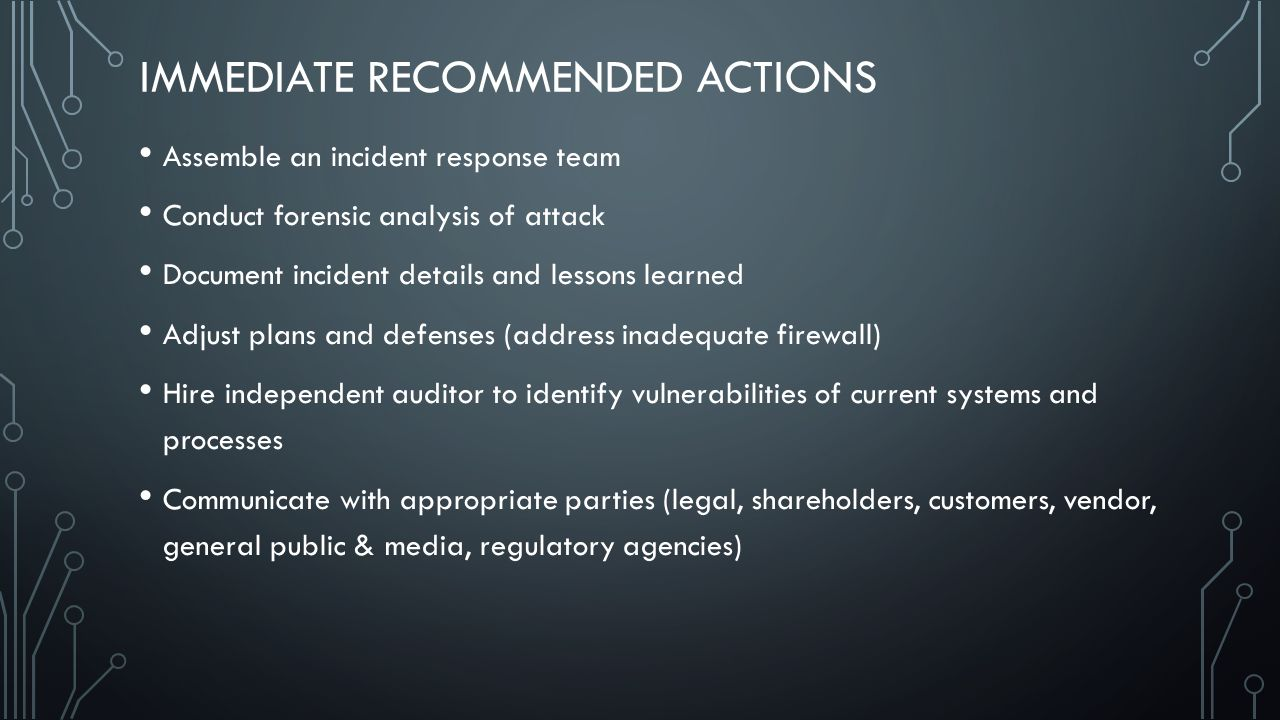 Immediate Recommended Actions