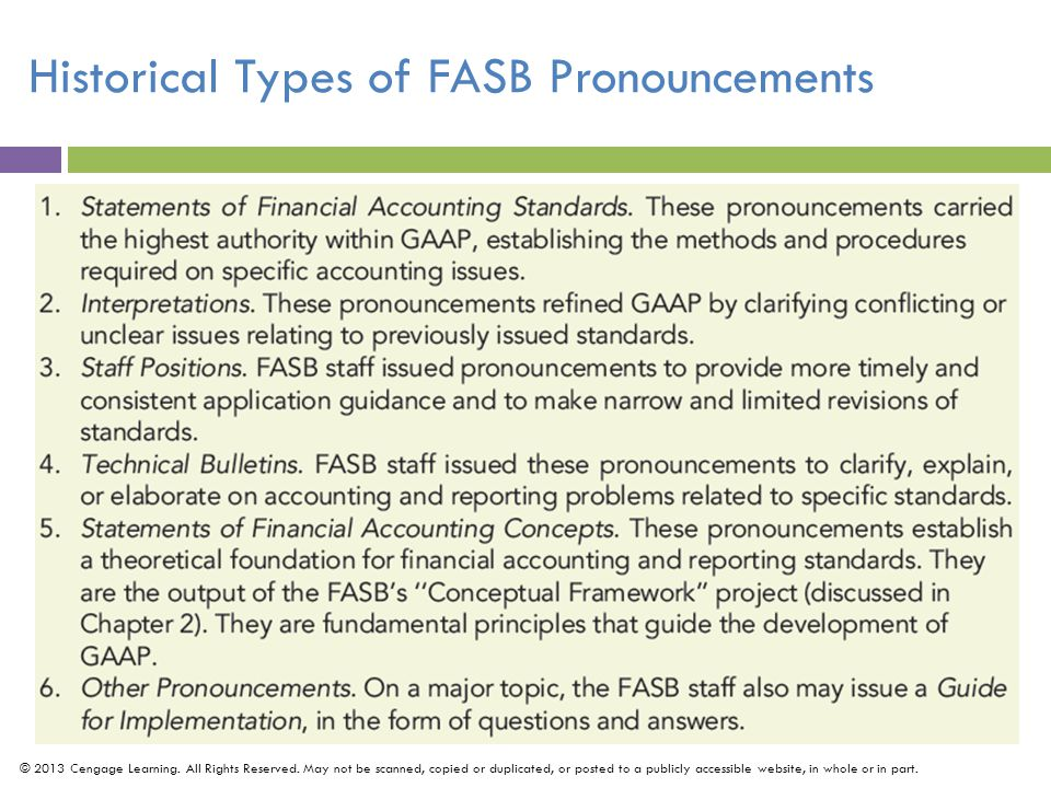 Historical Types of FASB Pronouncements