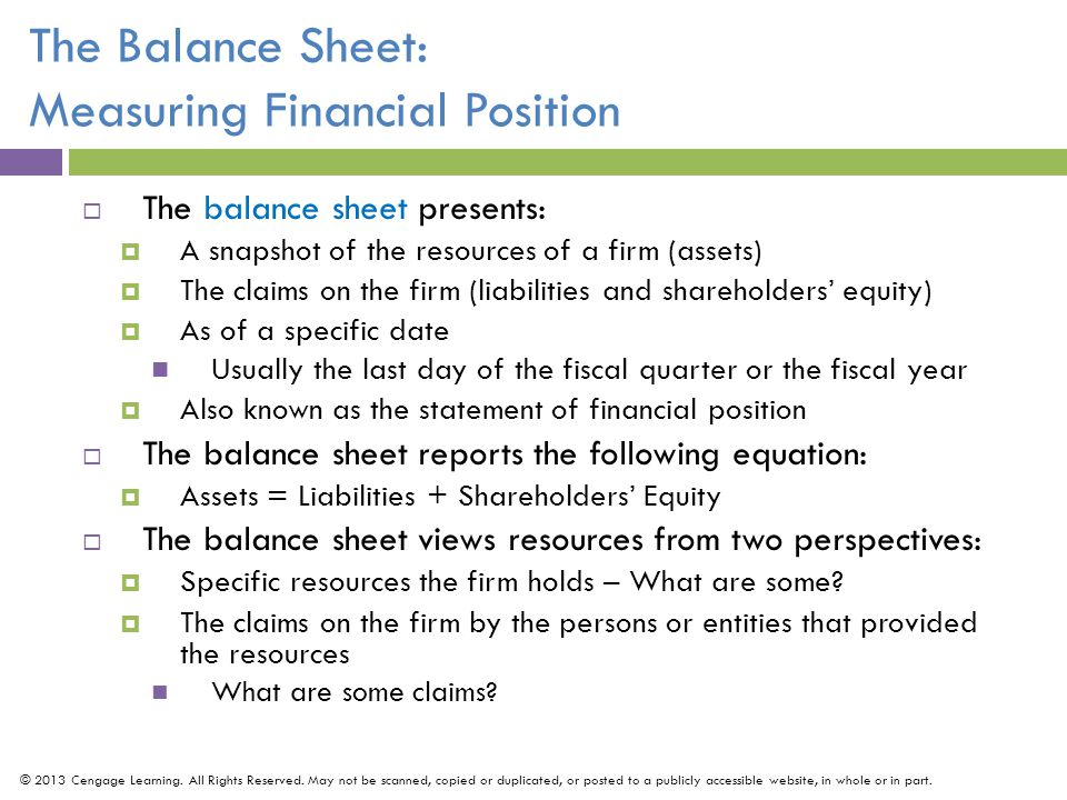The Balance Sheet: Measuring Financial Position