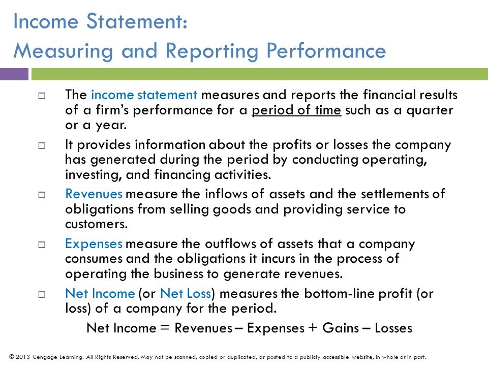 Income Statement: Measuring and Reporting Performance