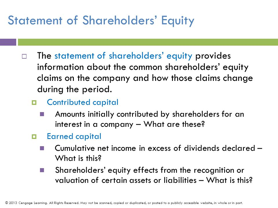 Statement of Shareholders' Equity