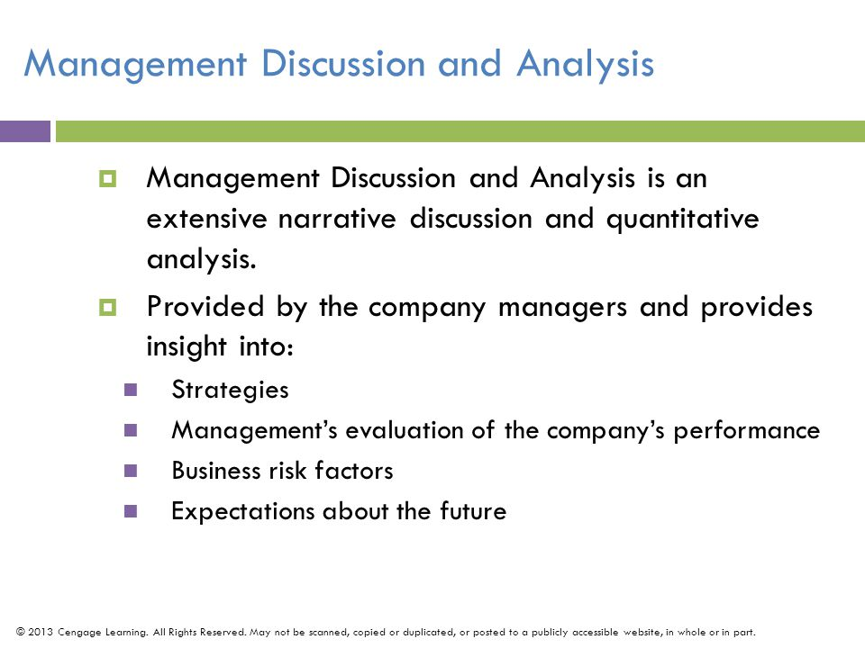 Management Discussion and Analysis
