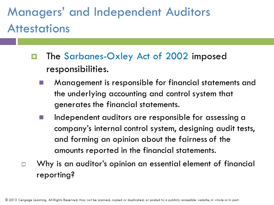 Managers' and Independent Auditors Attestations
