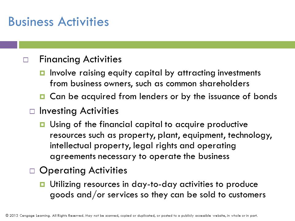 Business Activities Financing Activities Investing Activities