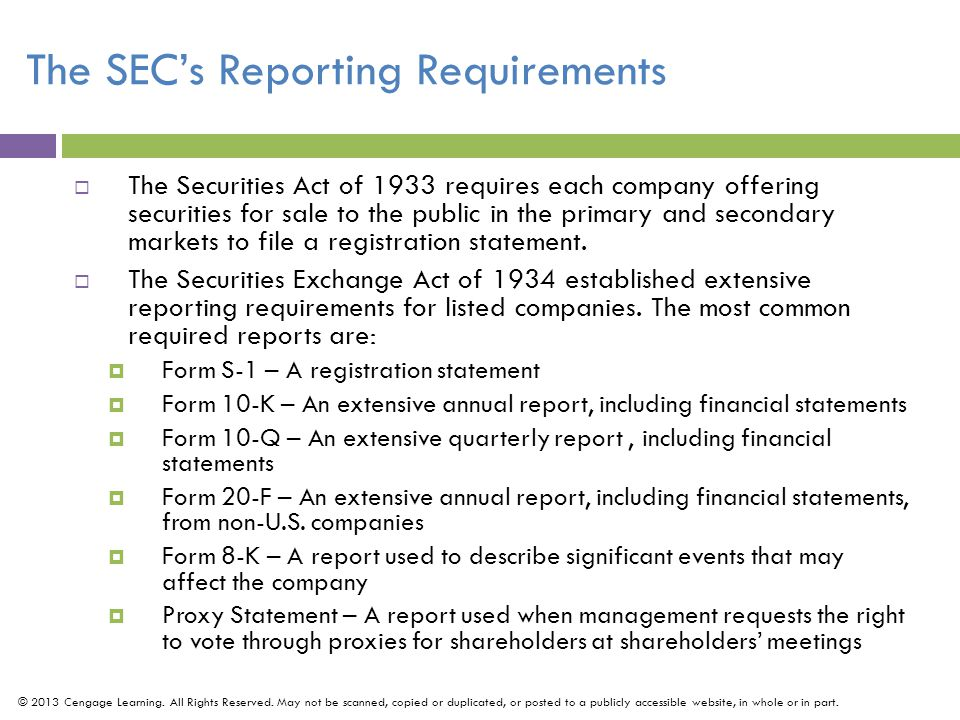 The SEC's Reporting Requirements