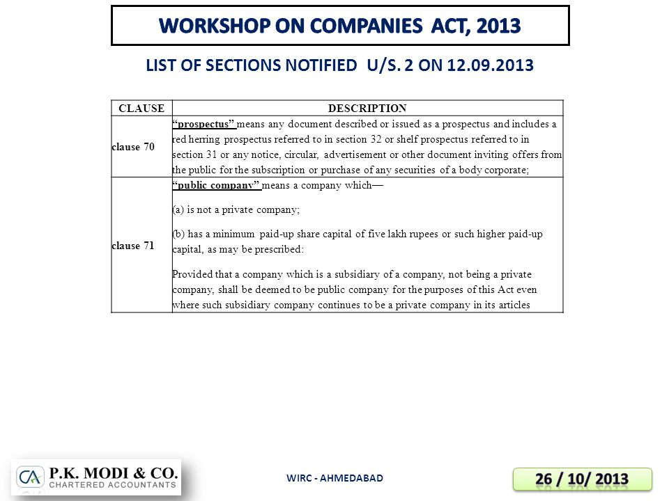 WORKSHOP ON COMPANIES ACT, 2013