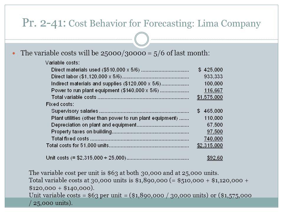 Pr. 2-41: Cost Behavior for Forecasting: Lima Company