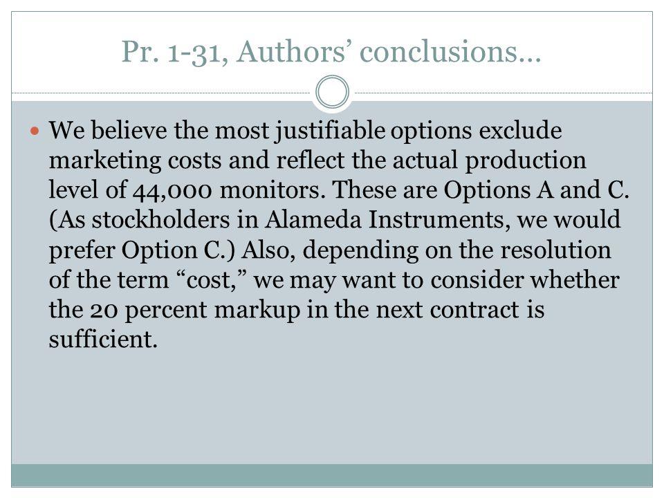 Pr. 1-31, Authors' conclusions…