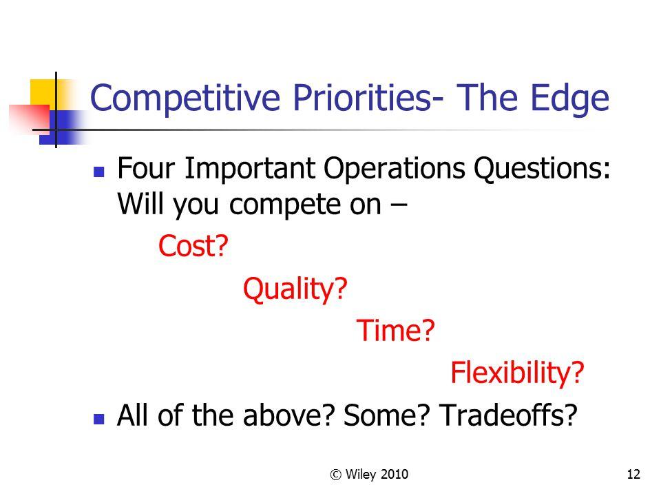 Competitive Priorities- The Edge