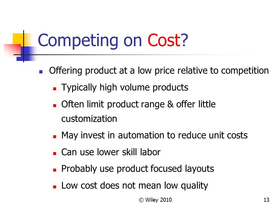 Competing on Cost Offering product at a low price relative to competition. Typically high volume products.
