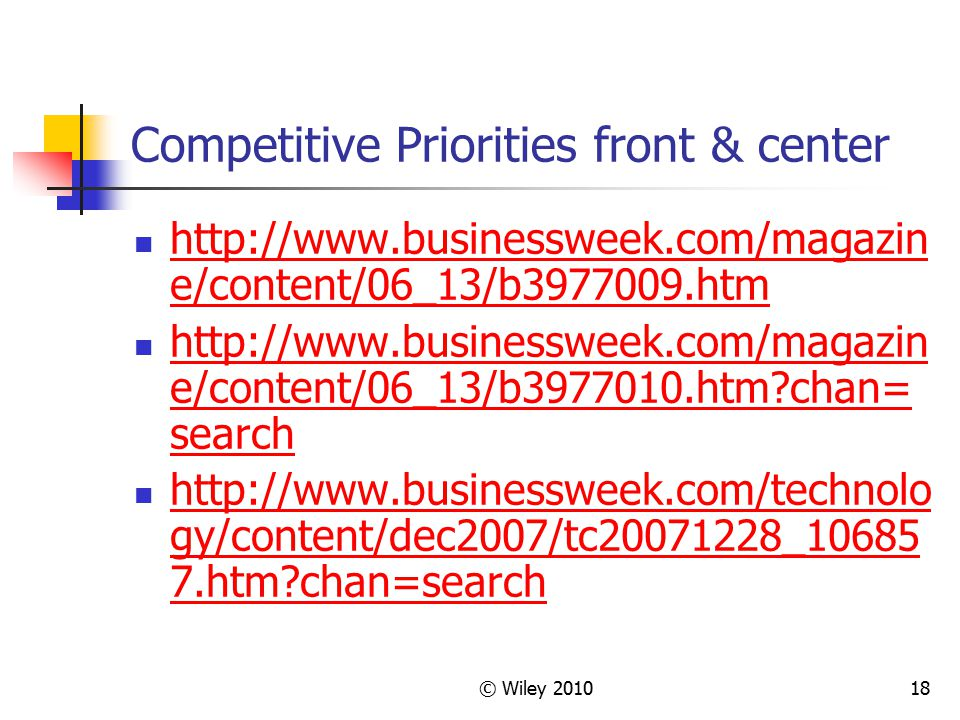 Competitive Priorities front & center