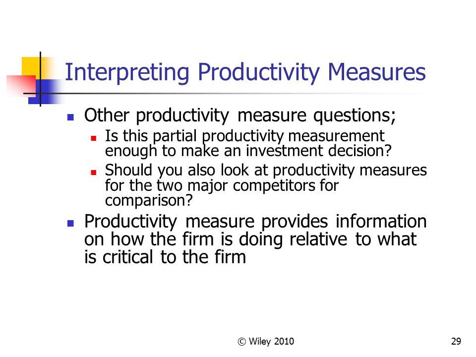 Interpreting Productivity Measures