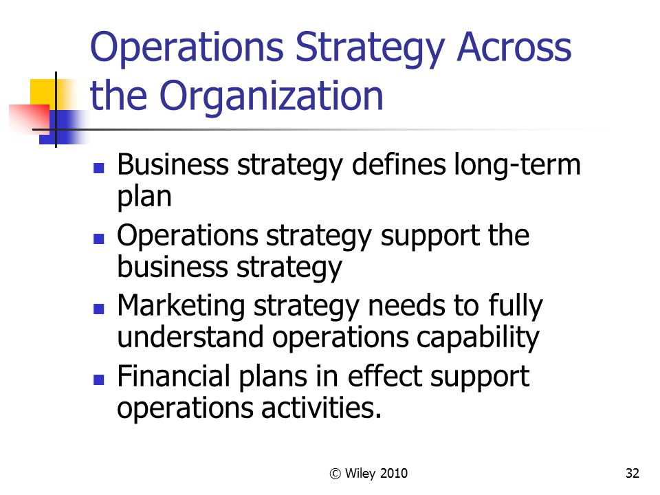 Operations Strategy Across the Organization