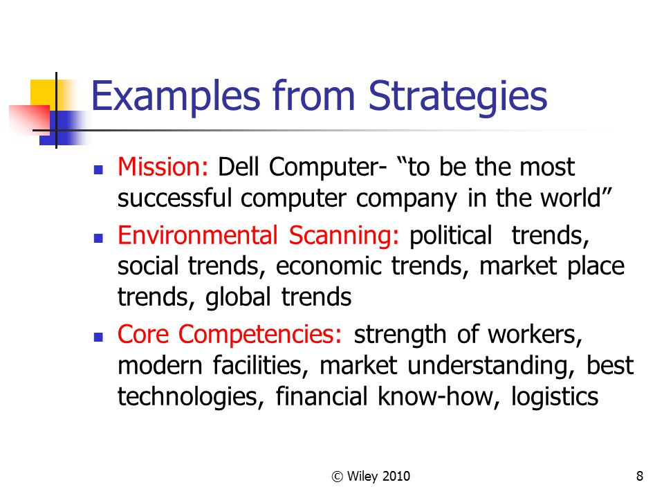Examples from Strategies