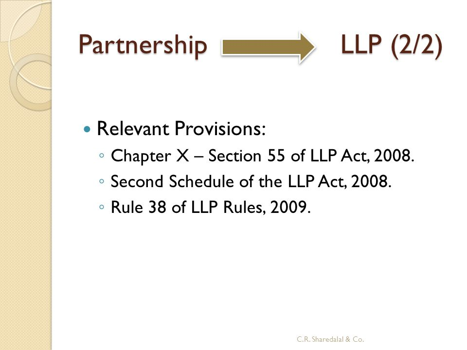 Partnership LLP (2/2) Relevant Provisions: