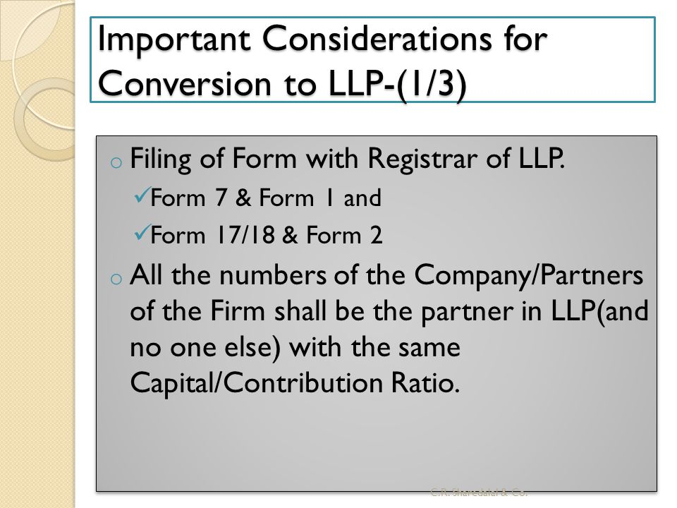 Important Considerations for Conversion to LLP-(1/3)