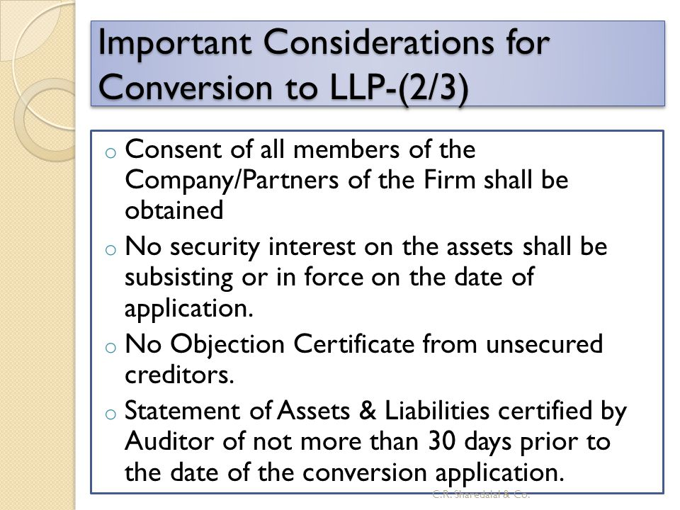 Important Considerations for Conversion to LLP-(2/3)
