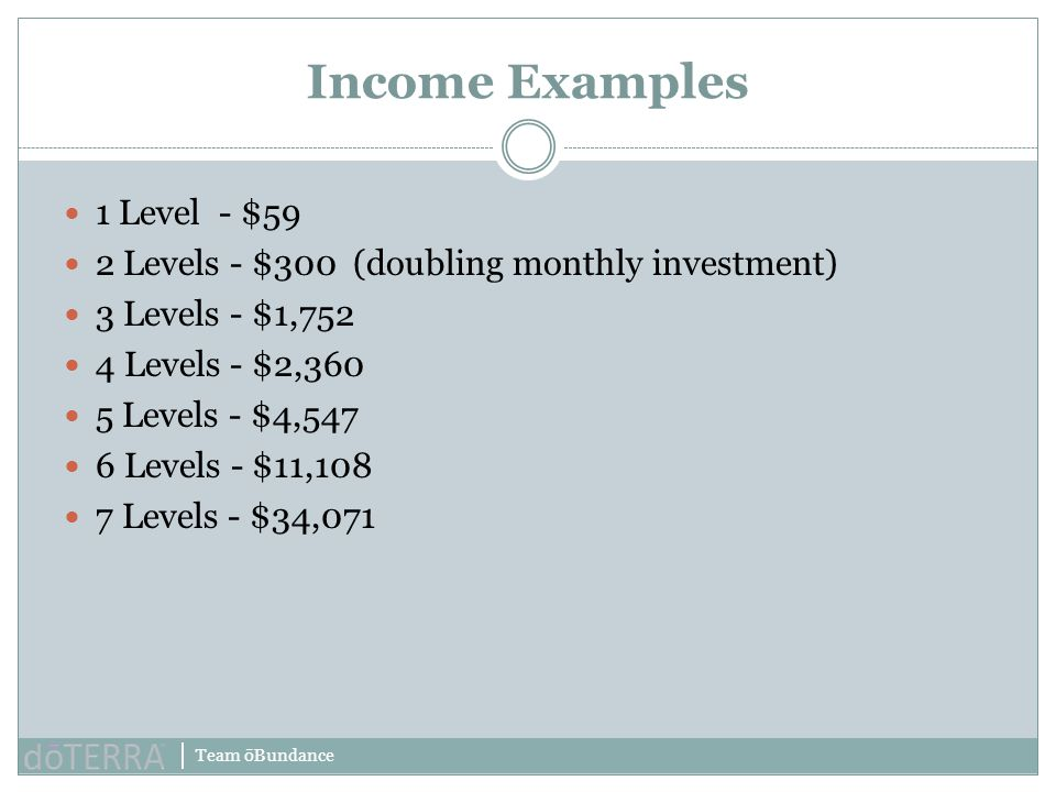 Income Examples 1 Level - $59