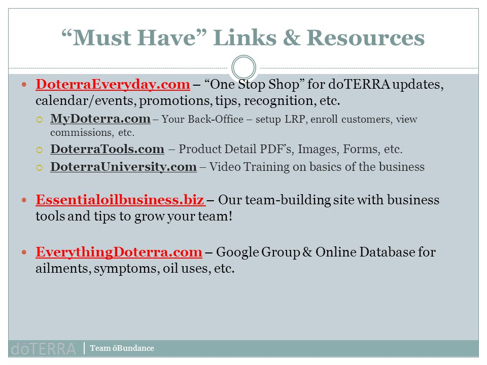 Must Have Links & Resources