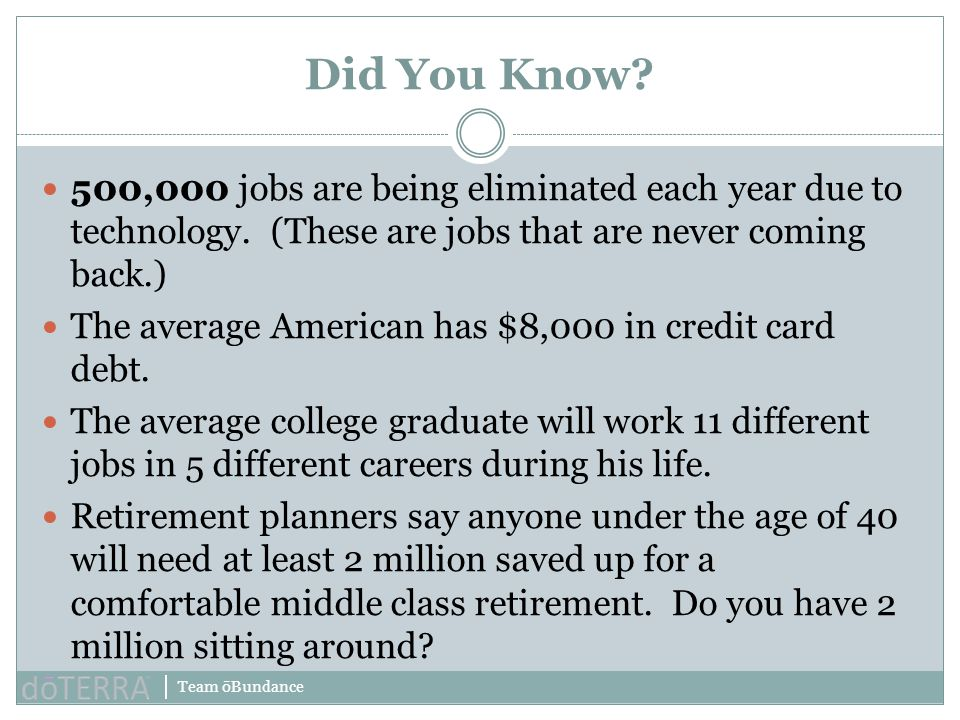 Did You Know 500,000 jobs are being eliminated each year due to technology. (These are jobs that are never coming back.)