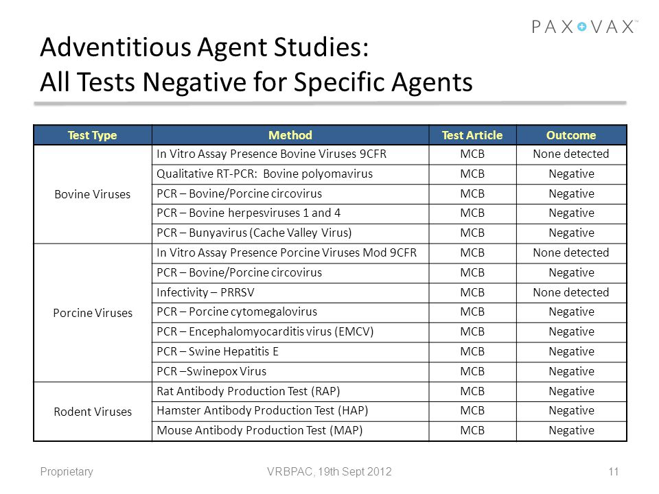 Adventitious Agent Studies: All Tests Negative for Specific Agents