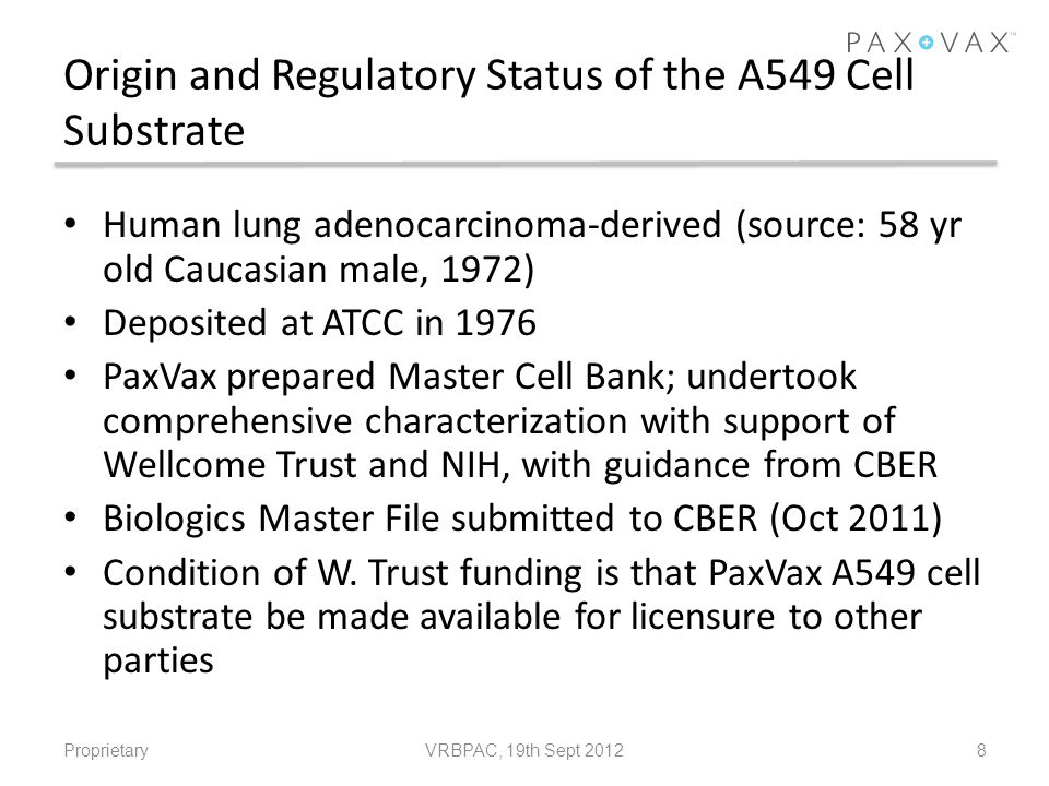Origin and Regulatory Status of the A549 Cell Substrate