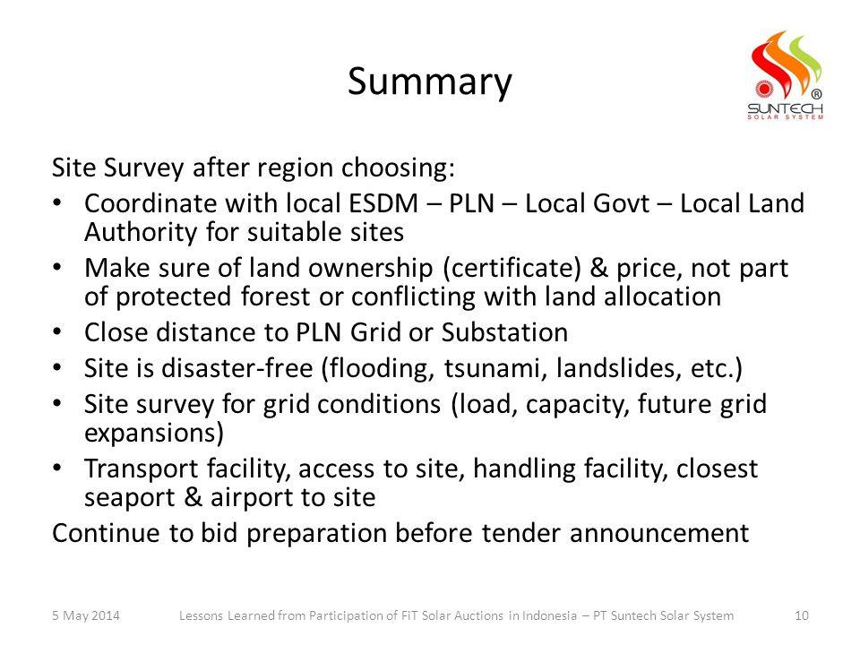 Summary Site Survey after region choosing: