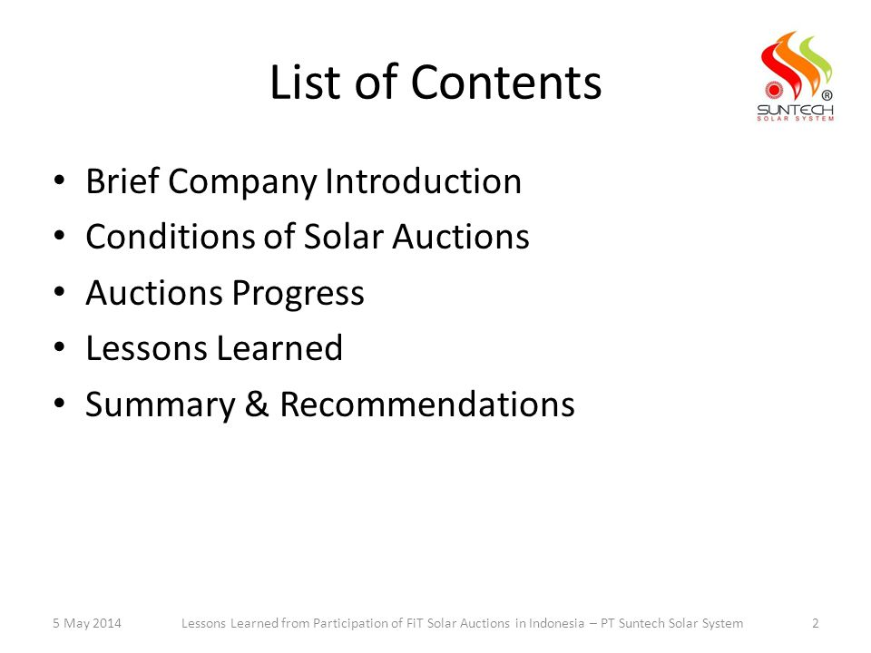 List of Contents Brief Company Introduction