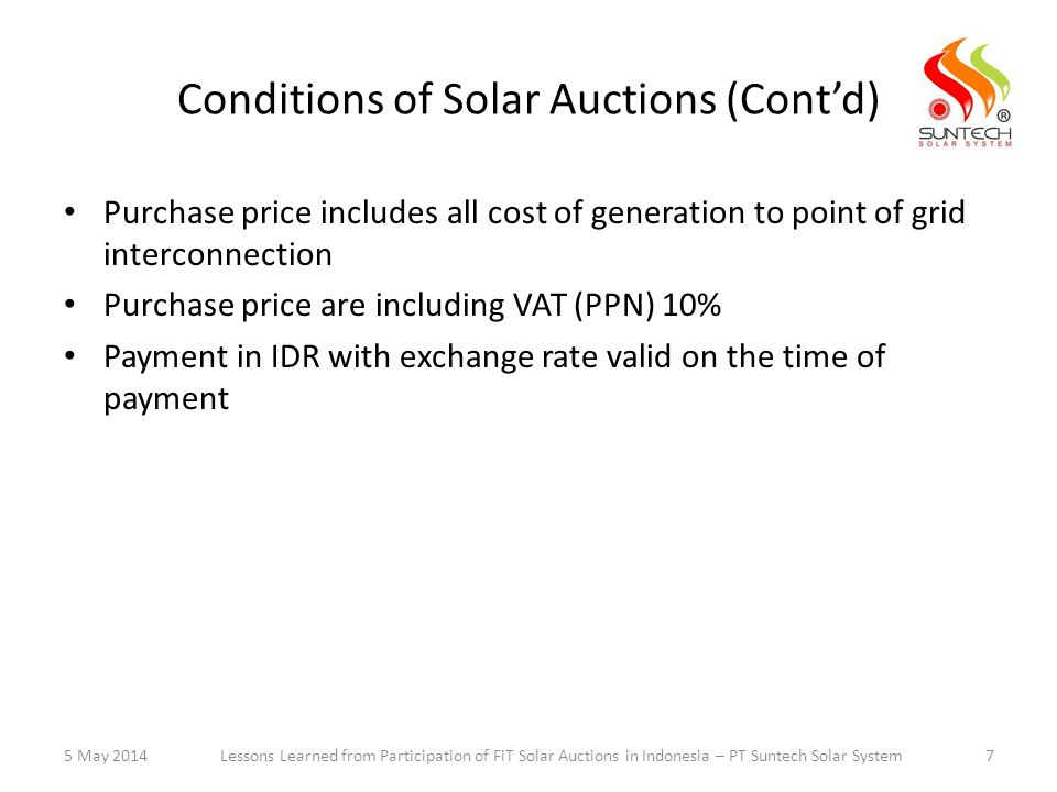 Conditions of Solar Auctions (Cont'd)