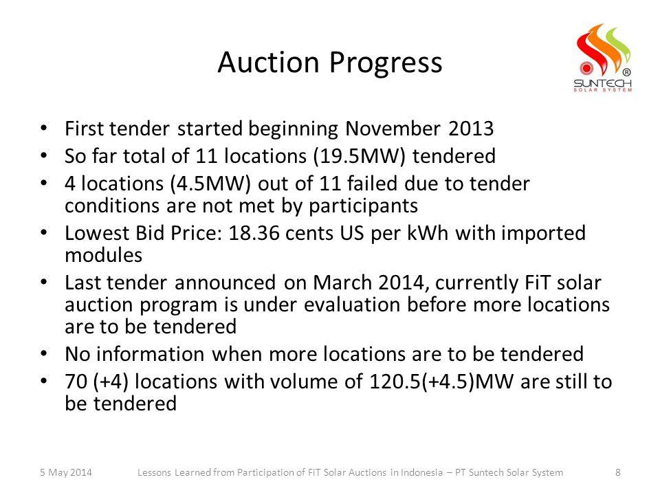 Auction Progress First tender started beginning November 2013