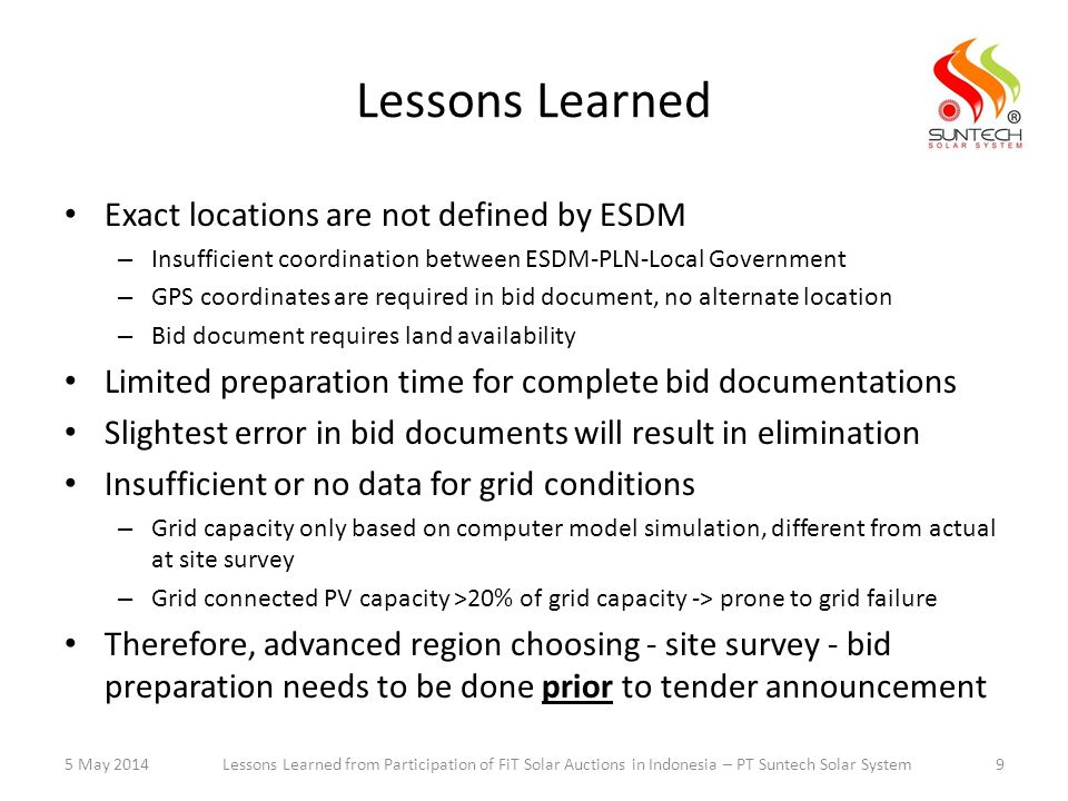 Lessons Learned Exact locations are not defined by ESDM