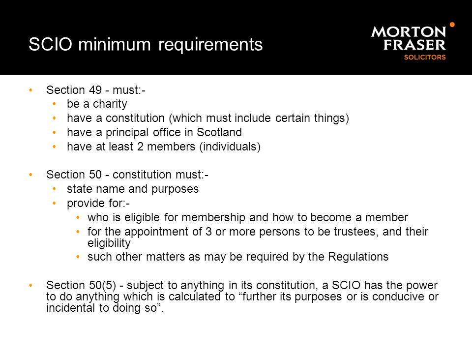 SCIO minimum requirements
