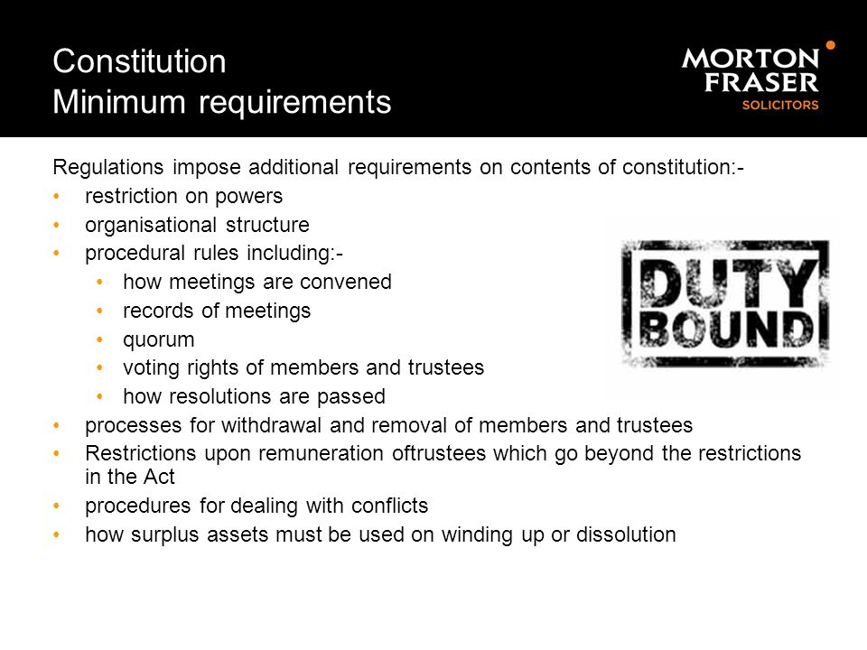 Constitution Minimum requirements