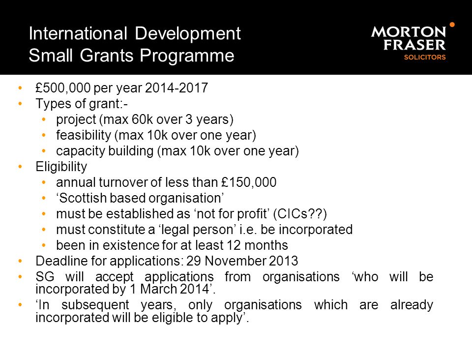 International Development Small Grants Programme