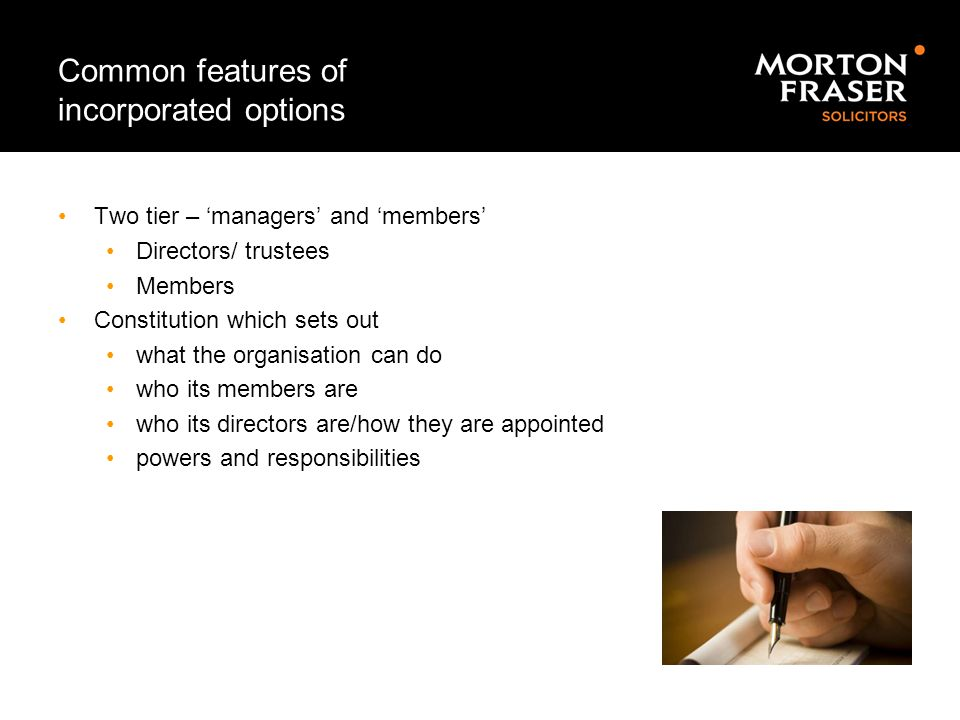 Common features of incorporated options