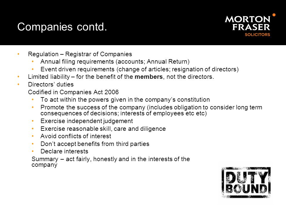 Companies contd. Regulation – Registrar of Companies