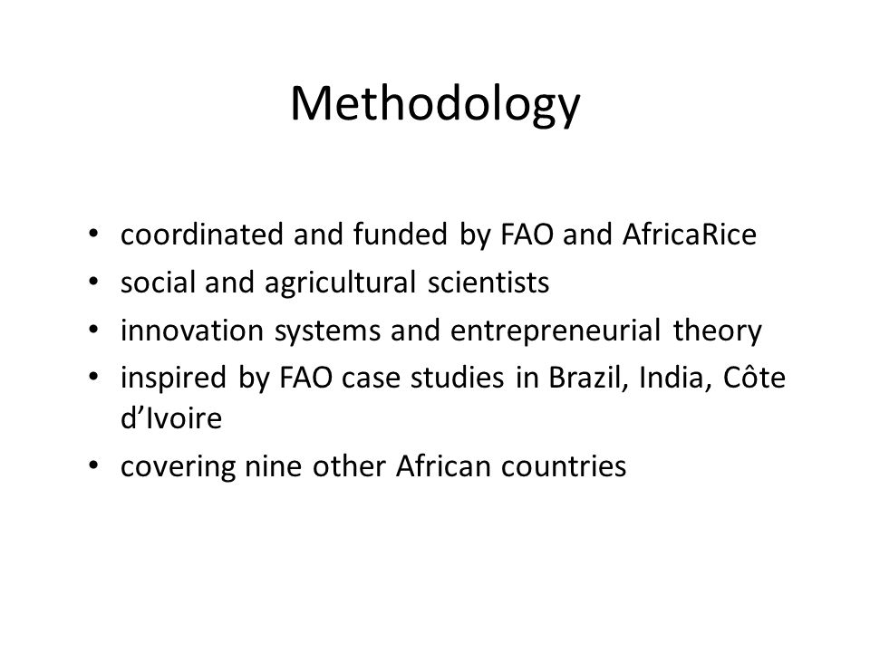 Methodology coordinated and funded by FAO and AfricaRice