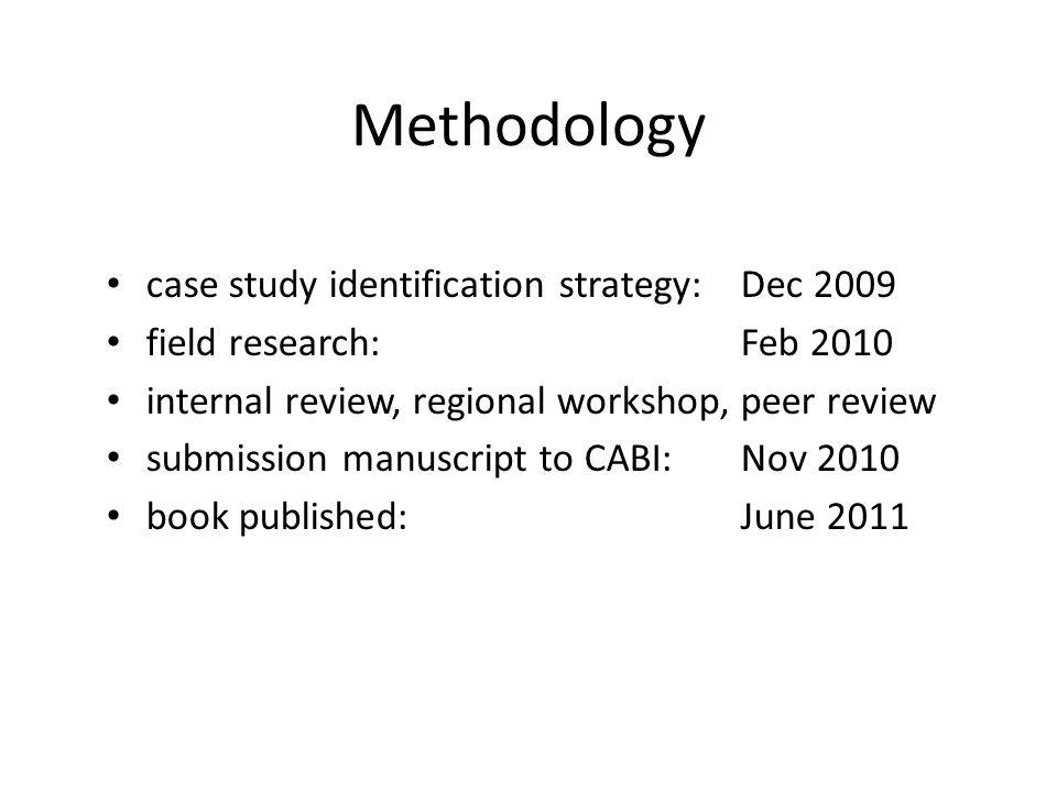 Methodology case study identification strategy: Dec 2009