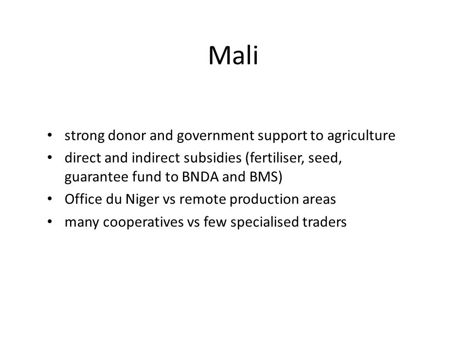 Mali strong donor and government support to agriculture