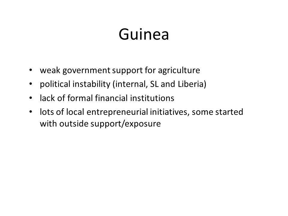Guinea weak government support for agriculture