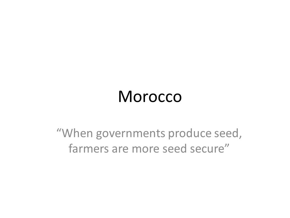 When governments produce seed, farmers are more seed secure