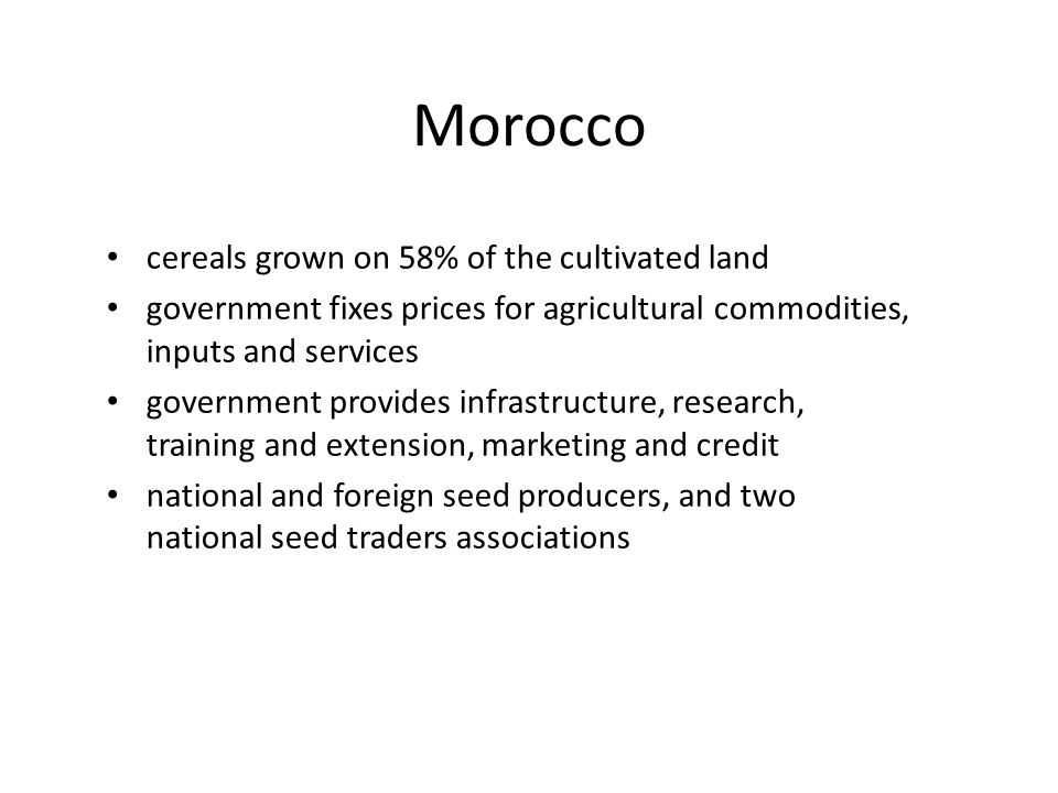 Morocco cereals grown on 58% of the cultivated land