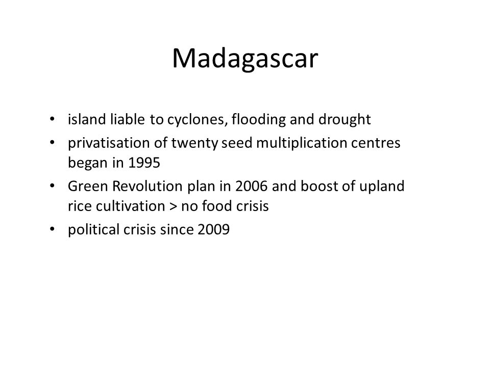 Madagascar island liable to cyclones, flooding and drought