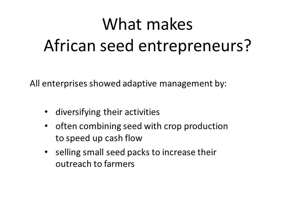 What makes African seed entrepreneurs