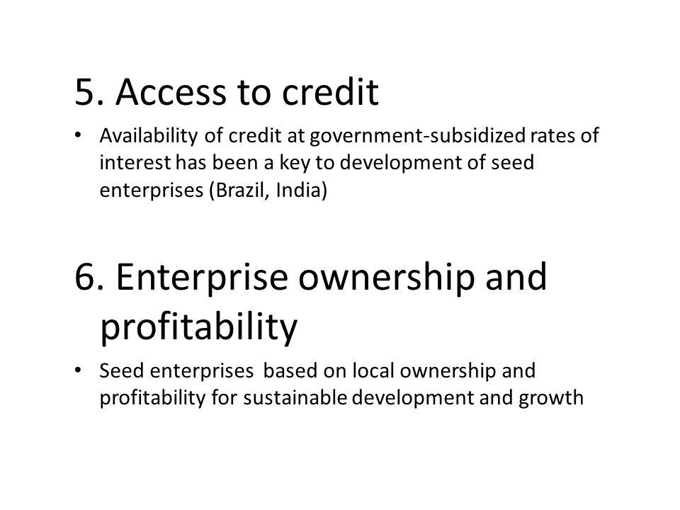 6. Enterprise ownership and profitability